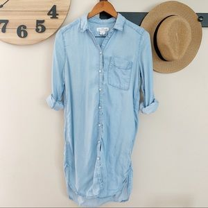H&M Button Down Blue Chambray Mini Tunic Dress